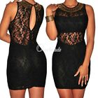 Sleeveless Black Lace Bronze Party Cocktail Club Embellished Mini Dress OBS