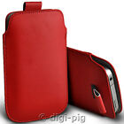 RED (PU) LEATHER PULL TAB POUCH CASE FOR MAIN RANGE OF MOBILE PHONES