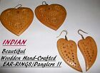 COMBO DEAL- WOODDEN Hand-Crafted (2 Pairs) Beautiful Ladies EARRINGS+FREE SHIP