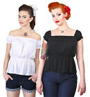 Collectif Miranda White or Black Gypsy Off Shoulder Pin Up Rockabilly 50s
