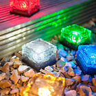 Small Solar Powered LED Glass Ice Cube Brick Outdoor Garden Patio Path Light