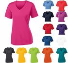 LADIES MOISTURE WICKING, LIGHTWEIGHT, VNECK, PULLOVER T-SHIRT XS-M L XL 2X 3X 4X