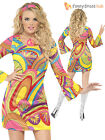 Ladies Sexy Fever 60's 60s Flower Power Hippy Hippie Fancy Dress Costume Womens