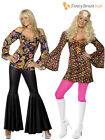 Ladies Hippy Fancy Dress Costume Hippie Womens 1970s 60's Outfit Flares