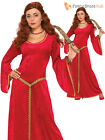 Ladies Deluxe Medieval Costume Tudor Queen Maid Marion Womens Fancy Dress Outfit