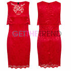 Womens Celebrity Inspired Sexy Red Floral Lace Scallop Wiggle Pencil Dress 8-16