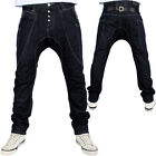 G-King Drop Crotch Faux Leather Backloop Star Hip Hop Denim Jeans Urban Tappered
