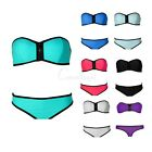 Women Hot Bandage Strapless Triangle Bikini Push-Up Neoprene Swimsuit Swimwear