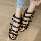 new Womens Peep Toe Buckle Strappy Sandals High Block Heels Real Leather Shoes