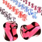 Pair Double flare ear plug acrylic gauges flesh tunnel stretched stretching 9COI
