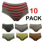 Womens 10 Pairs Stripe Cotton High Leg Briefs Knickers Ladies Full Briefs