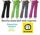 Wink Four-Stretch 5214 PETITE Sporty Cargo Scrub Pant All Sizes&Colors Free Ship