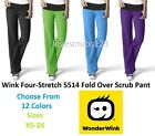 WonderWink Four-Stretch 5514 Fold Over Knit Waist Scrub Pant All Size&Color Wink