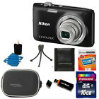 Nikon Coolpix S2800 20MP Digital Camera w 5x Zoom Lens Black +16GB Top ACC Kit