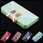 Luxury Leather Printed Lace Metal Bowknot Wallet Case Cover For iPhone 6/6 Plus