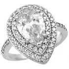 925 Sterling Silver Pear Shape Round Clear CZ Elegant Promise Ring Size 3-11