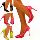 NEW Ladies Patent & Lace Cut Out Style Mid High Heel Pointed Toe Neon Shoes Size