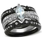 Size 8 9 10 P R T 3PC Marquise WEDDING Engagement Ring SET black Steel LTK1922E