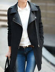 NWT Womens Celebrity Large Lapel Zipper Jacket Faux Leather Trench Coat Pleather