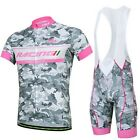 Camouflage Gray Cycling Bike Bicycle Wear Short Sleeve Jersey + Bib Shorts S-3XL