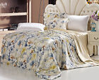 4 pcs Seamless Floral Silk Duvet Cover Sheet Set Twin Full Queen King Cal king