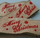 Wired Edge Natural Rustic Burlap Hessian Ribbon ♥ Merry Christmas ♥ 50mm ♥