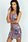 Boohoos Womens Dion Strappy Aztec Bodycon Dress