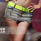 Hot Women Gray Mini Jeans Shorts PantsSkirts Denim Low Waist 3 Buttons Closure