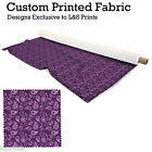 PURPLE PAISLEY DESIGN FABRIC LYCRA SPANDEX ALOBA POLYESTER SATIN L&S PRINTS