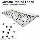 PAW PRINTS WHITE BG DESIGN FABRIC LYCRA SPANDEX ALOBA POLYESTER SATIN L&S PRINTS