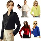 Casual Dress Shirt Blouse Chiffon Tops Elegant OL Turn Down Solid 2015