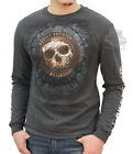 Harley-Davidson Mens Diamond Plate Skull Charcoal Long Sleeve T-Shirt