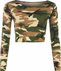 New Womens Army Camouflage Print Long Sleeve Short Stretch Ladies Crop Top 8-14