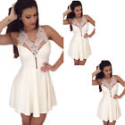 New White Womens Sexy Mini Dress Club Party Cocktail Sleeveless Lace Dress S-XL