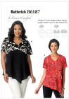 Butterick 6187 Connie Crawford V Neck Top Sewing Pattern Large Plus Size B6187