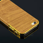 Retro Wood Grain Pattern PU Leather Slim Hard Case Cover for iPhone 5 5S