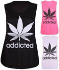 Womens New Addicted Leaf Print Ladies Stretch Sleeveless Vest Tunic T-Shirt Top