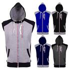 Mens Fleece Lined Hoodie Gilet Sleeveless Waistcoat Sweatshirt Zipped Hoody Top