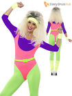Ladies 80s Sexy Neon Aerobic Dance Fame Fancy Dress Outfit 1980s Workout Costume