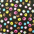 per 1/2 metre/ FQ 100 % cotton black liquorice allsorts sweets fabric craft
