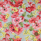 per 1/2 metre/FQ Grey English Garden floral dressmaking/craft fabric 100% COTTON