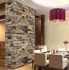 Vintage Rustic 3D Effect Vinyl Tile Stone Brick Wallpaper
