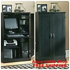 Home Office Furniture Computer Armoire Wood Desk Hutch Cabinet Shelves Storage