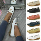 WOMENS LADIES FLAT LOW HEEL WEDGE LEATHER TASSEL LOAFERS COMFORT BOAT SHOES SIZE