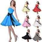 UK FAST SALE Short Evening Bridesmaid Formal Prom Ball Gown Cocktail Party Dress