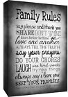 Black & White Family Rules Quote, Canvas Wall Art Print ALL SIZES, ANY COLOUR