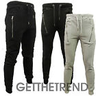 Mens Pique Drop Crotch Skinny Slim Fit Stretch Joggers Bottoms Pants Trousers