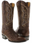mens brown genuine ostrich full quill westen leather cowboy boots rodeo riding