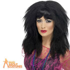 80s Blonde Trademark Crimp Wig Black Ladies 1980s Fancy Dress Costume Accessory