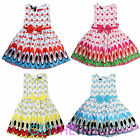 Cute Girls Peacock Color Pattern Bowknot Dress Kids Sleeveless Princess Dresses